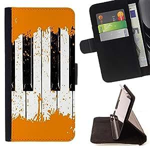 Devil Case- Estilo PU billetera de cuero del soporte del tir¨®n [solapa de cierre] Cubierta FOR Samsung Galaxy S6 Edge G9250 G925F- Piano Mucis