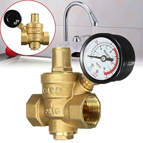 - Pressure Regulator Reliable Brass Water with Gauge Flow DN20 3/4