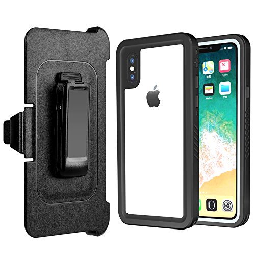 iPhone X Waterproof Case Belt Clip & Waterproof Float Built-in Screen Protector Dropped Dust-Proof Snow-Proof Anti-snow Anti-knock Cover Fits Apple iPhone X