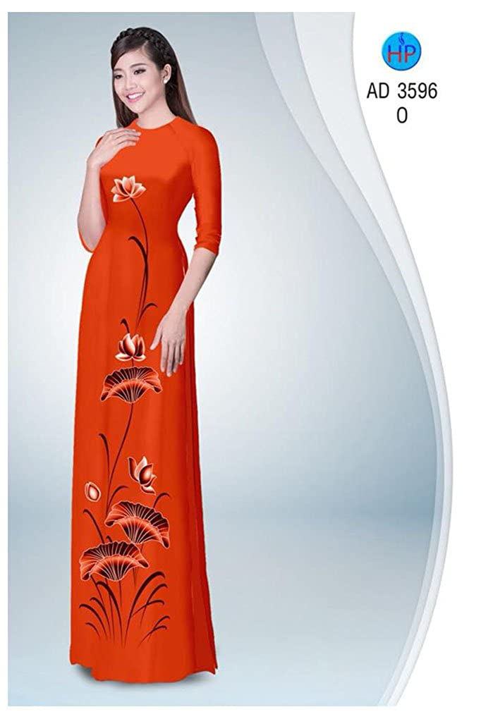 All Size Silk 3D Traditional Vietnamese Long Dress Collections with Pants Ao Dai ADVN00311