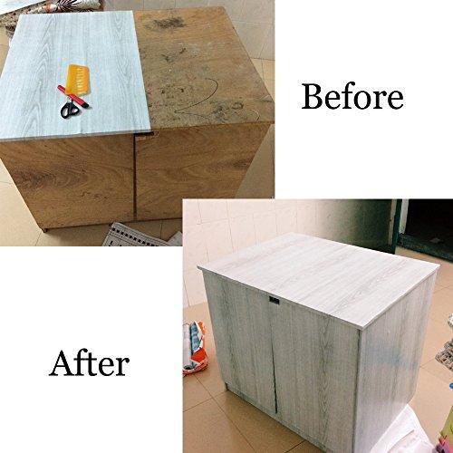 Simplelife4u Light Gray Wood Grain Contact Paper Self
