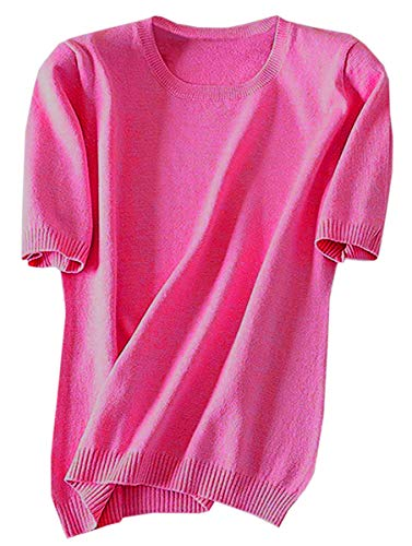Women's Short Sleeves Cashmere Sweater Tops T Shirt Blouse, Bright Pink, Tag 5XL = US ()