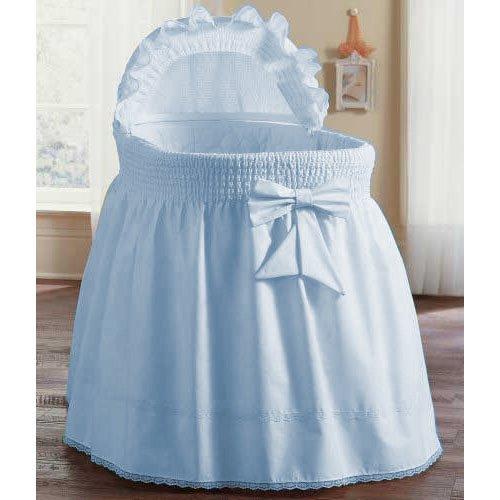 aBaby Smocked Bassinet Skirt, Blue, Large