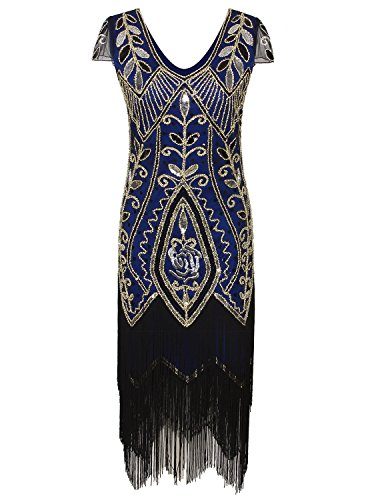 Vijiv 1920s Gatsby Costume Flapper Dresses Tassel Sequin Cocktail Dress With Sleeves