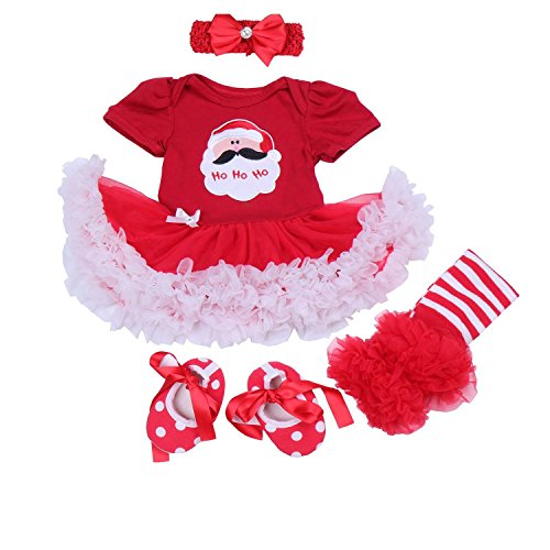 BabyPreg Baby Girls My First Christmas Santa Costume Party Dress 4PCS (M 6-9 Months, Christmas Santa)