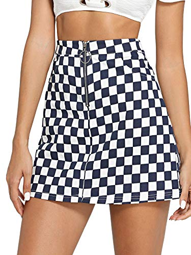 Jollymoda Women's Elegant Mid Waist Above Knee O-Ring Zipper Front Plaid Mini Checkered Skirt ()