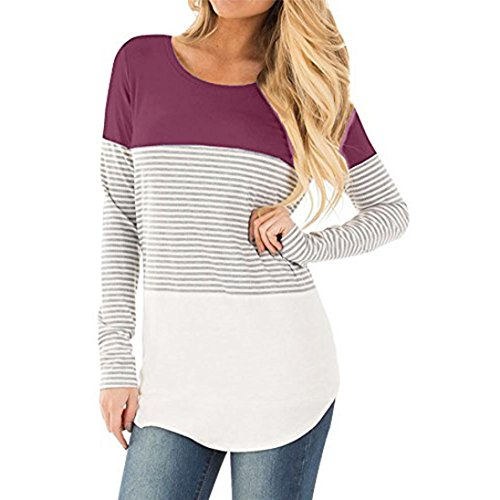 2018 Women Casual Long Sleeve Blouse Striped Tops Patchwork Stretchy T-Shirt - Maternity Sweater Holiday