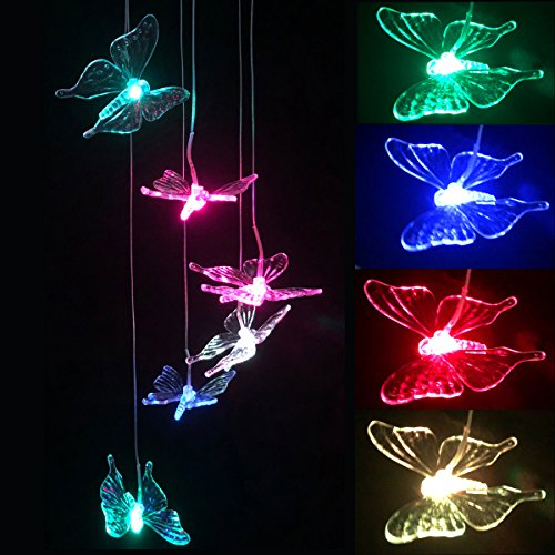 LED Solar Wind Chime - Outdoor Waterproof Solar Powered LED Changing Light Color Mobile Six Butterfly Wind Chimes For Home,Party,Festival Decor,Valentines Gift,Night Garden Decoration (Butterfly) by Youyuan