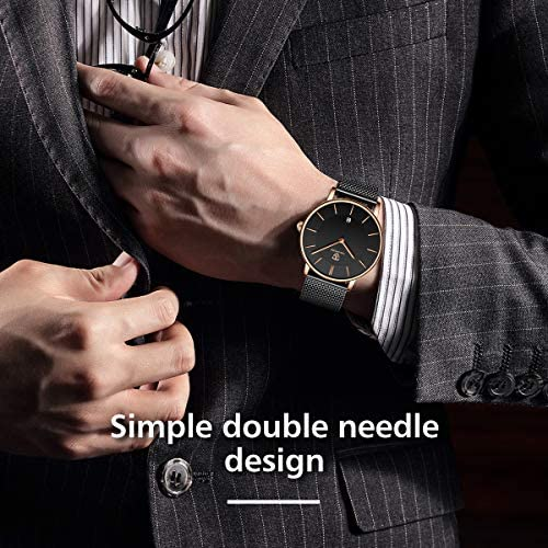 Mens Watch, Minimalist Fashion Simple Wrist Watch Analog Date with Stainless Steel Mesh Band