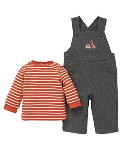 Little Me Baby Boys' 2 Piece Knit Overall Set, Safari Overall, 9 Months