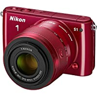 Nikon 1 S1 10.1 MP HD Digital Camera System with 11-27.5mm VR and 30-110mm VR 1 NIKKOR Lenses (Red)