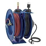 Coxreels C-L350L-5012L-X Dual Purpose Electric/Air Spring Rewind Reels: 50' 3/8'' I.D. hose capacity, less hose, 300 PSI; Less cord & accessory, 50' cord capacity, 12 AWG