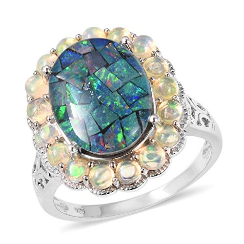 Mosaic Opal Promise Ring 925 Sterling Silver Jewelry for Women Size 9