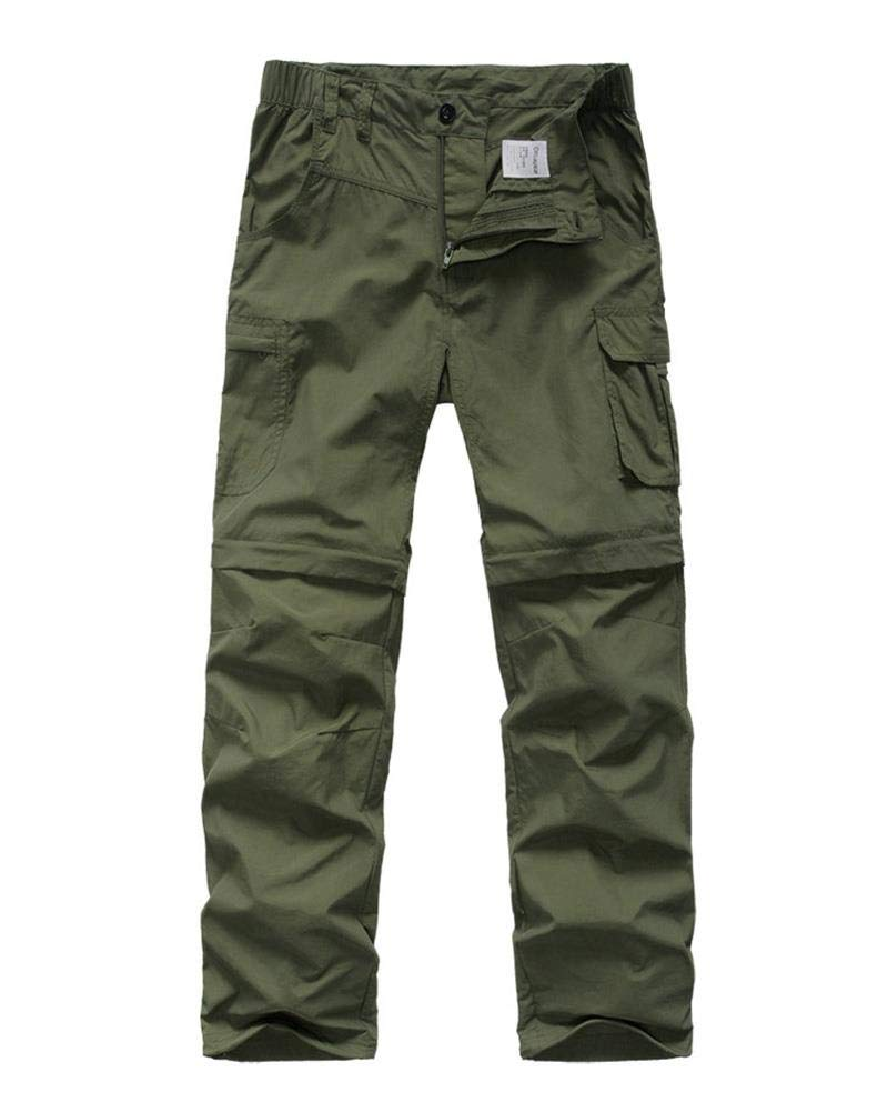 Kids' Cargo Pants, Boy's Casual Outdoor Quick Dry Waterproof Hiking Climbing Convertible Trousers Army Green by linlon