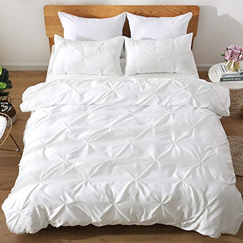 HORIMOTE HOME White Duvet Cover Full, Cotton Reverse and Polyester Satin Face, Soft Cute Ruched Pinch Pleated Pintuck Diamond Pattern Duvet Cover for Girls Women Bedroom, 80