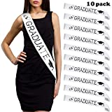 FEPITO 4 Pack Graduation Sash White Unisex Satin Sash Prom Graduation Celebration Party Supplies...