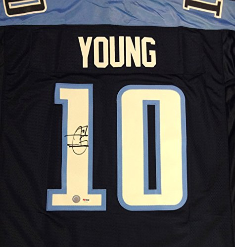 TENNESSEE TITANS VINCE YOUNG AUTOGRAPHED BLUE REEBOK TWILL JERSEY SIZE XL PSA/DNA STOCK #91871
