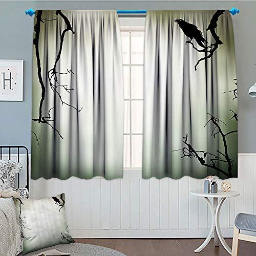 (GLANDU Horror House Decor, Blackout Window Curtain, Crow Bird on Leafless Branch Cemetery Death Spirit Animal Evil Funeral, Customized Curtains, 52x63 Inch Sepia Black)