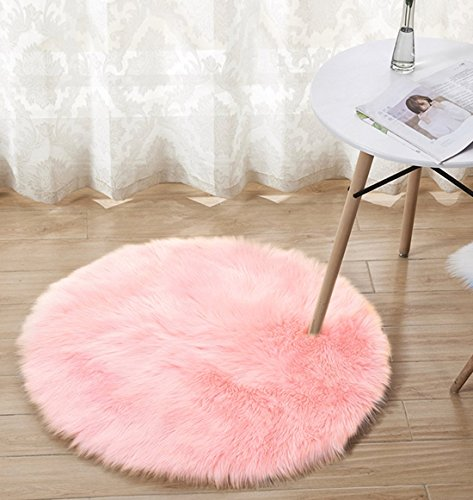 Round Shag Rug, Anyshock faux fur Luxury Modern Throw Rug Cozy Shaggy Washable Area Rug Soft Floor Mat Carpets Kids Play Rug for Bedroom Living Room(3.2 ft Diameter, Pink) Review