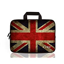 "iColor UK Flag 9.7"" 10"" 10.1"" 10.2"" Tablet Laptop Neoprene Carrying Bag Sleeve Briefcase Pouch Handle Bag Tote for iPad Air, Kindle Fire HD 10, Lenovo Yoga book, 10.1 Toshiba Encore 2, PolaTab Q10.1, Dell Inspiron Mini 10 IHB10-01"