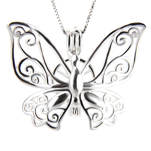 (NY Jewelry 925 Sterling Silver Butterfly Pendants for Pearl, Pearl Cage Pendants for Women DIY Jewelry Making)