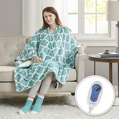 (Comfort Spaces Electric Heated Throw Blanket Wrap Ultra Soft Warm Plush Sherpa Reversible Blanket - 3 Fast Heat Setting - Ogee Aqua - 50x64 inches Match Socks Set)