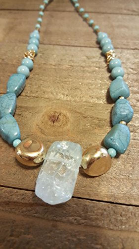 endant Blue Tint With Blue Stone Beads Necklace Earth Spirit Jewelry ()