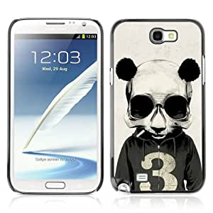 CQ Tech Phone Accessory: Carcasa Trasera Rigida Aluminio Para Samsung Galaxy Note 2 N7100 - Funny Smoking Panda Hoodie