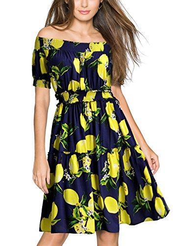 Miusol Womens Casual Shoulder Lemon