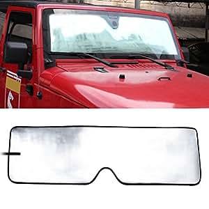 Front Windshield Sunshade Sun shade for 2007-2017 Jeep Wrangler JK MINGLI Heat Shield Windshield Custom-fit Sunshade Sun Visor Mat