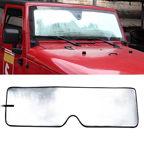 Clear Outer Shade - Front Windshield Sunshade Sun shade for 2007-2017 Jeep Wrangler JK MINGLI Heat Shield Windshield Custom-fit Sunshade Sun Visor Mat