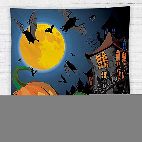 59 x 59 Inches Halloween Decorations Fleece Throw Blanket Gothic Scene with Halloween Haunted House Party Theme Decor Trick or Treat for Kids Blanket (Cape Town Halloween Party)