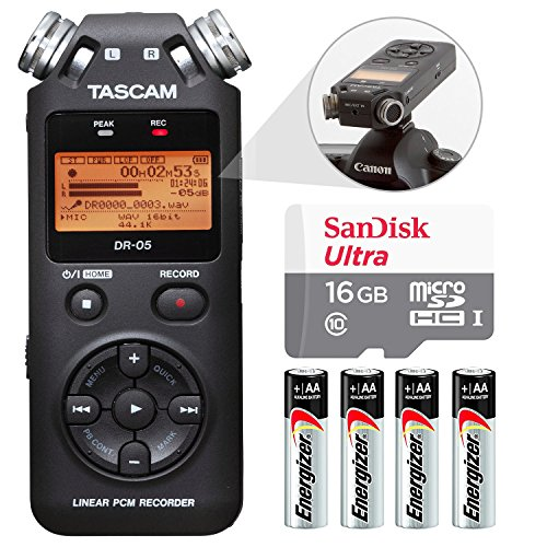 - Tascam DR-05 (Version 2) Portable Handheld Digital Audio Recorder (Black) with Basic accessory bundle