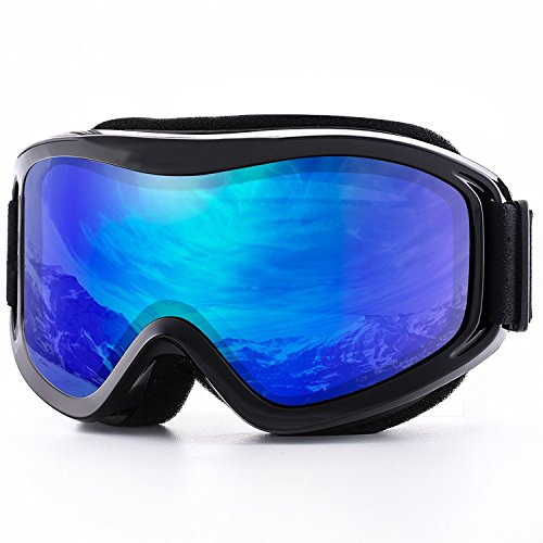 Sunnec Ski Goggles,Adult Snowmobile Snowboard Skate Glasses with UV 400 Protection Windproof and Dustproof for Snowboard Motorcycle Bicycle - Double Bullet Block