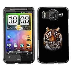 Qstar Arte & diseño plástico duro Fundas Cover Cubre Hard Case Cover para HTC Desire HD / G10 / inspire 4G( Tiger Portrait Jungle Big Cat Whiskers Ears)