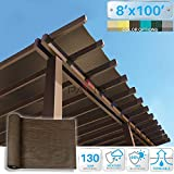 Patio Paradise 8' x 100' Sunblock Shade Cloth Roll,Brown Sun Shade Fabric 95%UV Resistant Mesh Netting Cover for Outdoor,Backyard,Garden,Plant,Greenhouse,Barn