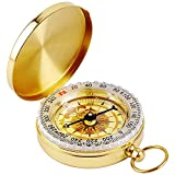 Military Compass Glow in the Dark, MAXIN Portable Pocket Watch Flip-Open Compass Waterproof for Camping, Hiking and other Outdoor Activities. (Golden)