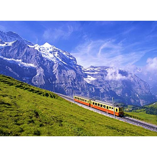 Adult Jigsaw Puzzle Landscape Mountains Alps Scenery Train Switzerland 500-Pieces free shipping