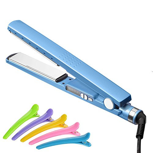 Infityle Hair Straighteners - 5 Temperature Level Professional Titanium Plates Flat Iron 1.2 inch Hairs Straightener Free Bonus with Hair Clips (Blue) by Infityle