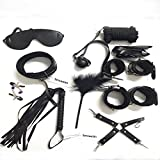 Senswalan 10 Piece Bed Restraints Kit with Adjustable Fur Leather Wrist Cosplay (black)