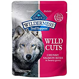 Blue Buffalo Wilderness Trail Toppers Wild Cuts High Protein Grain Free, Natural Wet Dog Food, Chunky Salmon Bites in Hearty Gravy 3-oz pouch (pack of 24)