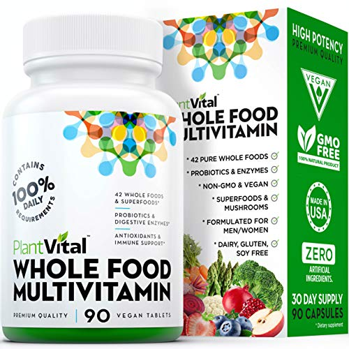 New! Whole Food MULTIVITAMIN with 62 Superfoods, Raw Veggies & Fruits, Probiotics, Digestive Enzymes, B-Complex, Omegas & More. Vegan/Non-GMO. Dairy/Soy/Gluten Free. 90 Veggie Capsules. 30 Days