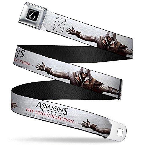 Assassin's Crest Full Color Black/White Seatbelt Belt - ASSASSIN'S CREED II Ezio Hidden Blade Stretch Pose White/Grays/Black/Red Webbing -