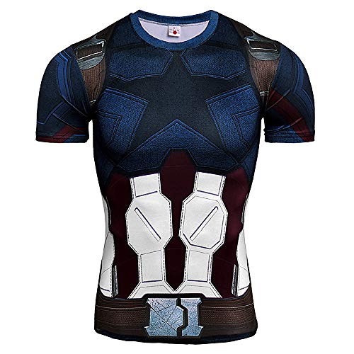 Super Dry Running T-shirt - CoolMore Super Hero Compression T Shirts Short Sleeve Tops Tee for Men for Sports Gym Runing Base Layer (Captain 2, XL)