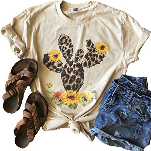 GEMLON Women Vintage Leopard Print Cactus T-Shirts Floral Graphic Tee Short Sleeve Summer Tops