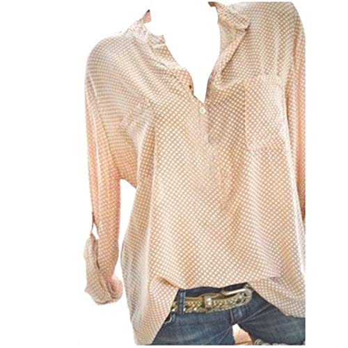 Clearance Women Tops❤️COPPEN Women V-Neck Wave Point Printing Long Sleeves Plus Size Tops Loose Blouse