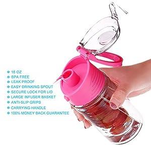 Weshine Flavor it 16 Ounce Kid infuser water bottle(Dark Pink)