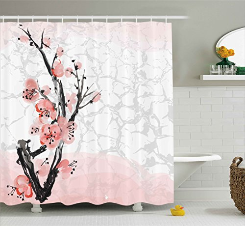 Unique Pink Coral (Floral Shower Curtain by Ambesonne, Japanese Cherry Blossom Sakura Tree Branch Soft Pastel Watercolor Print, Fabric Bathroom Decor Set with Hooks, 70 Inches, Coral Light Pink Grey)