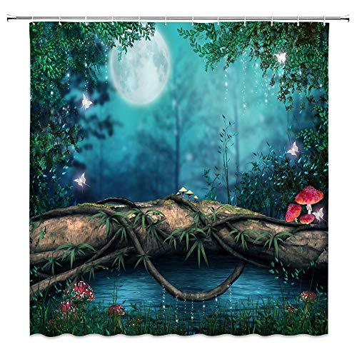 AMNYSF Enchanted Pond Decor Shower Curtain Fantasy Fairy Tale Forest Red Mushroom Green Plants Leaves Meadow Tree Log Moon Blue Fabric Bathroom Curtains,70x70 Inch Waterproof Polyester with Hooks (Enchanted Fairy Forest)