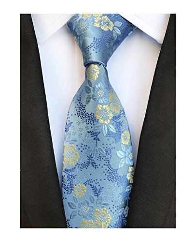 Men's Sky Blue Tie Yellow Spring Floral Party Wedding Woven Silk Paisley Necktie by Elfeves